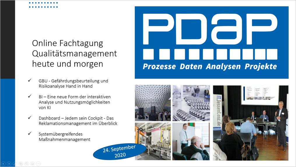 PDAP8.next - Online Fachtagung Qualitätsmanagement heute und morgen